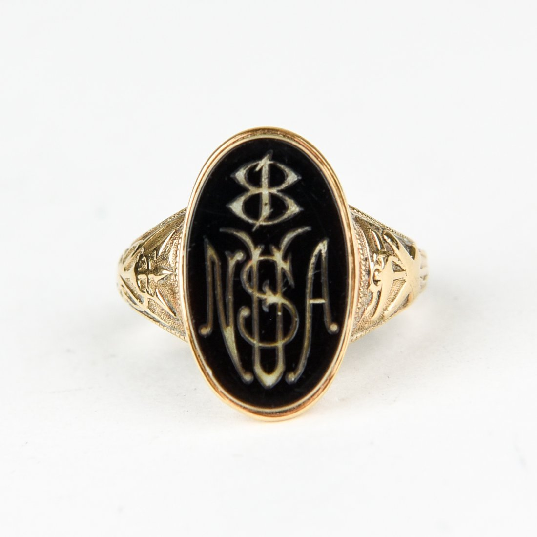 GOLD HARDSTONE MONOGRAM RING