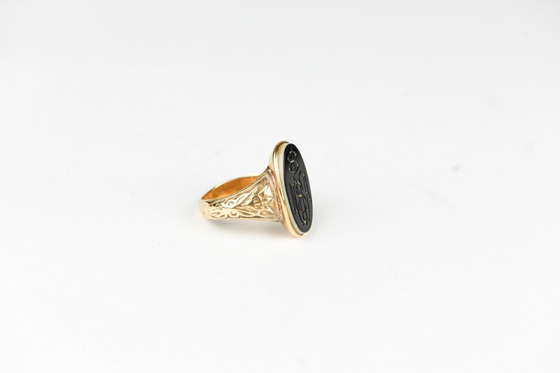 GOLD HARDSTONE MONOGRAM RING - 2