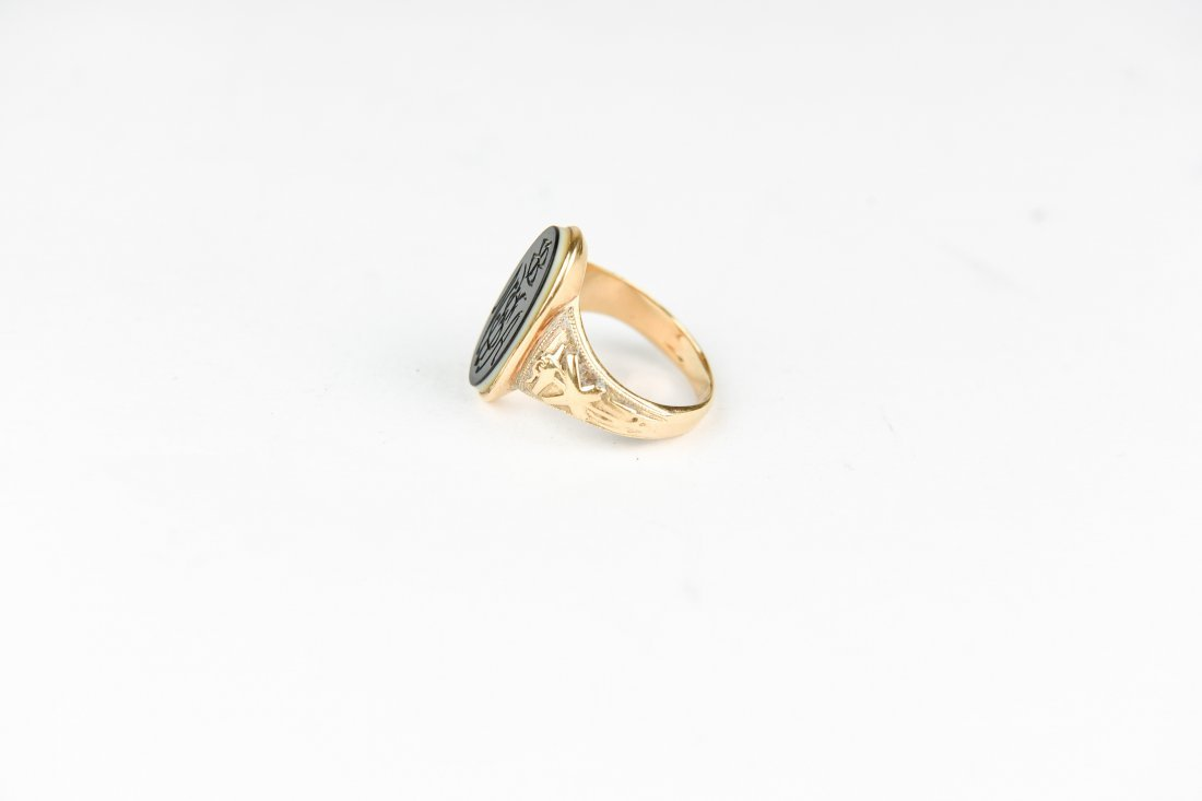 GOLD HARDSTONE MONOGRAM RING - 4