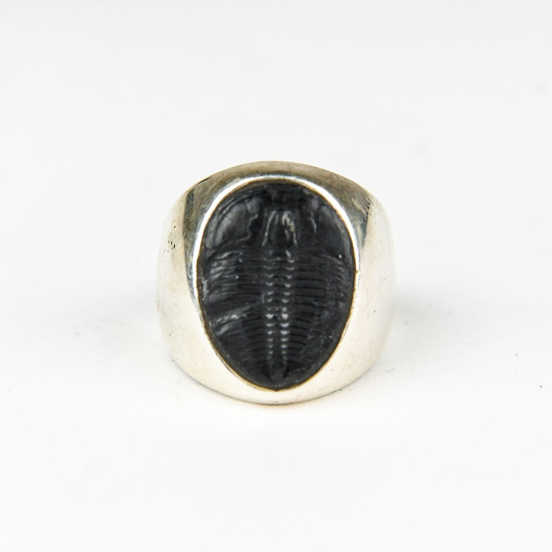 SILVER TRILOBITE FOSSIL RING