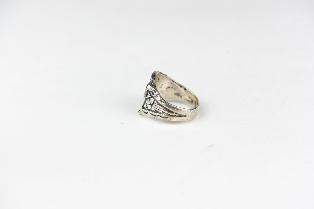 NAVAJO SILVER EAGLE RING - 2
