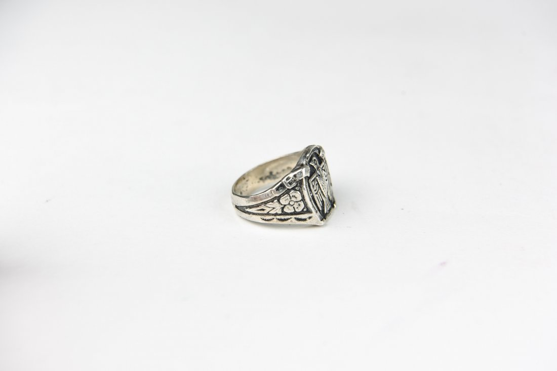 NAVAJO SILVER EAGLE RING - 4