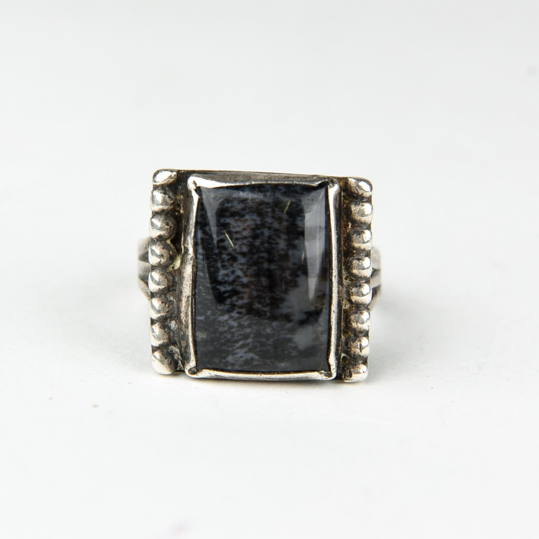 STERLING AND MOSS AGATE RING
