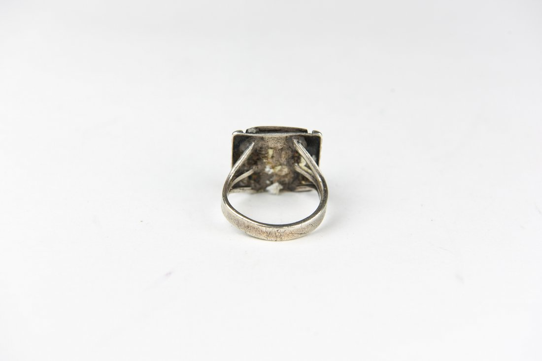 STERLING AND MOSS AGATE RING - 3