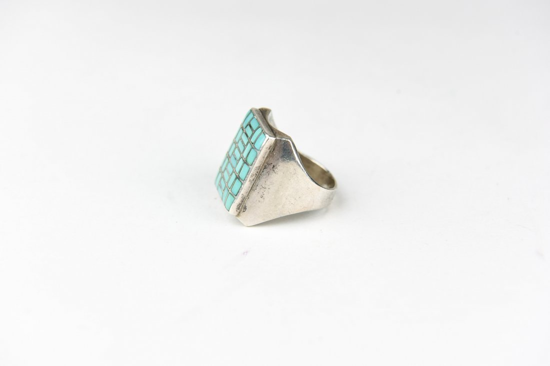 STERLING AND INLAID TURQUOISE RING - 2