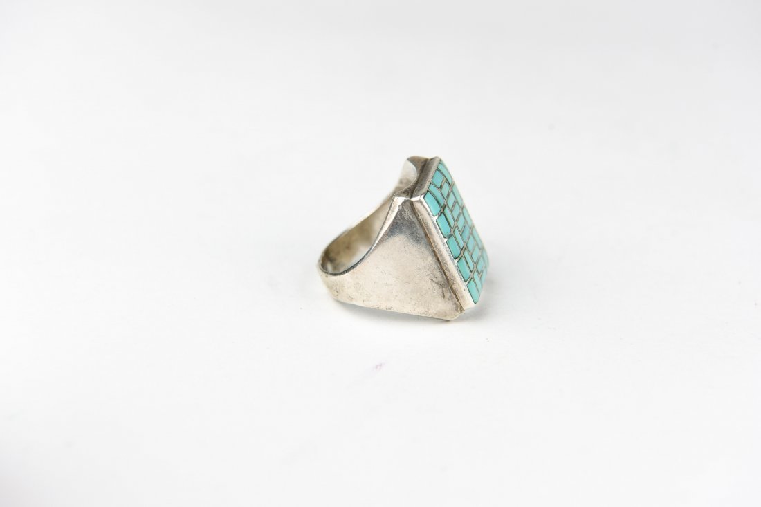 STERLING AND INLAID TURQUOISE RING - 4