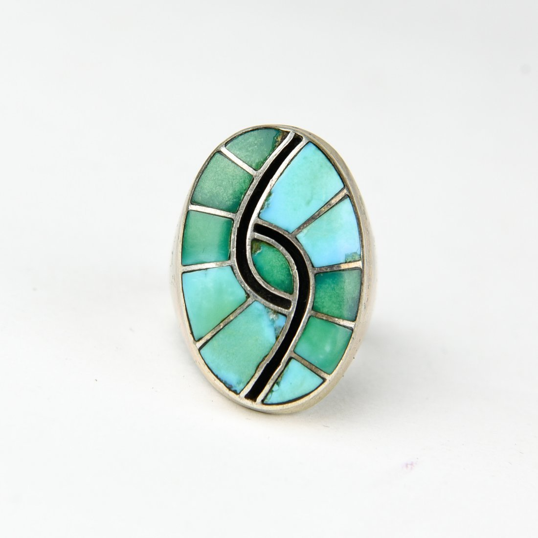 HEAVY INLAID STERLING AND TURQUOISE RING