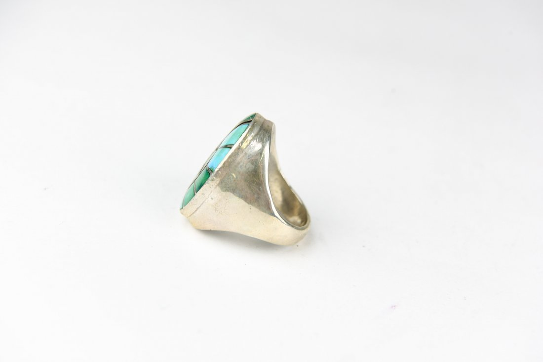 HEAVY INLAID STERLING AND TURQUOISE RING - 2