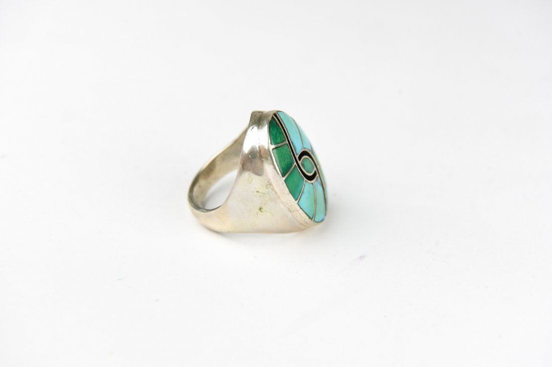 HEAVY INLAID STERLING AND TURQUOISE RING - 4