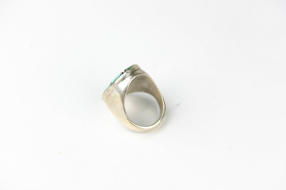 HEAVY INLAID STERLING AND TURQUOISE RING - 5