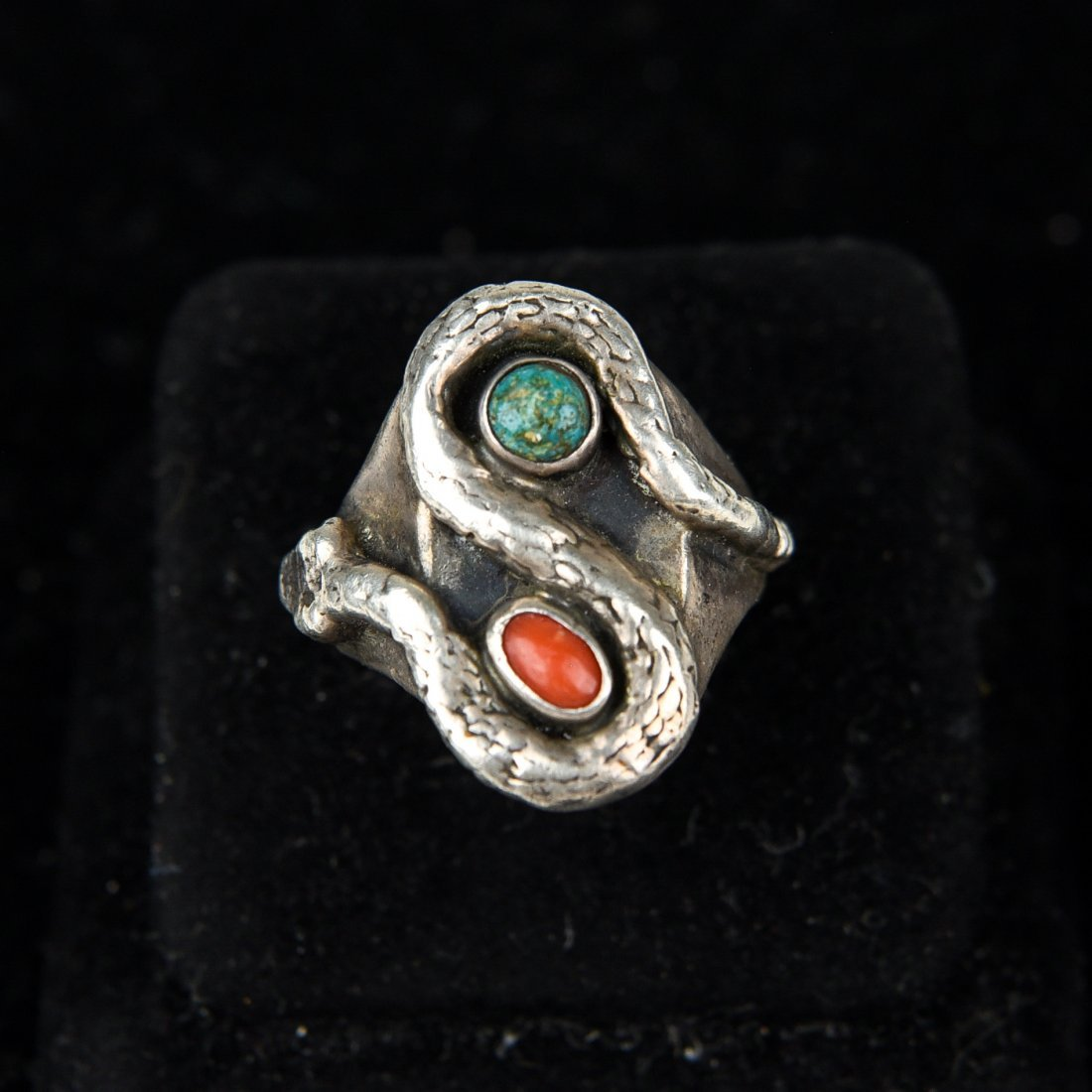 STERLING AND TURQUOISE SNAKE RING