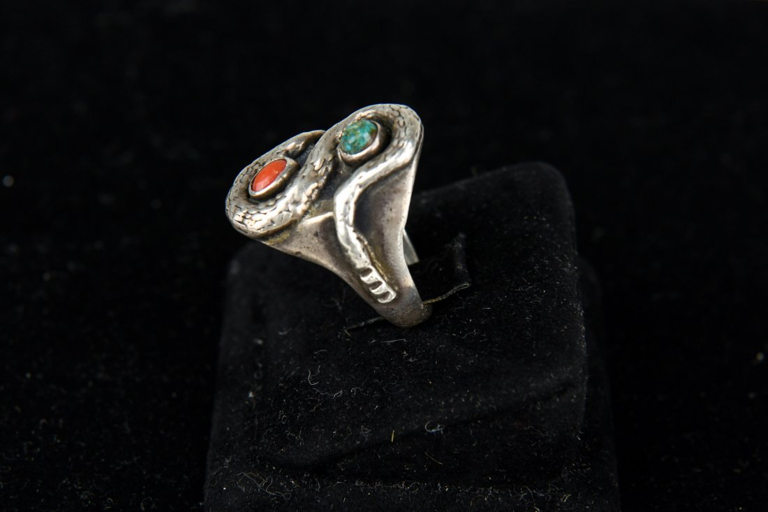 STERLING AND TURQUOISE SNAKE RING - 2