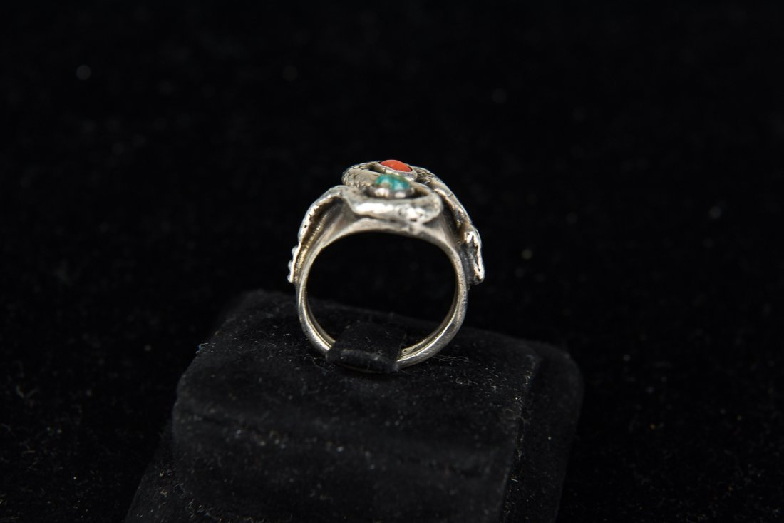 STERLING AND TURQUOISE SNAKE RING - 3