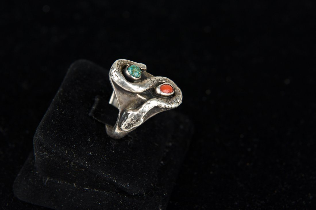 STERLING AND TURQUOISE SNAKE RING - 4