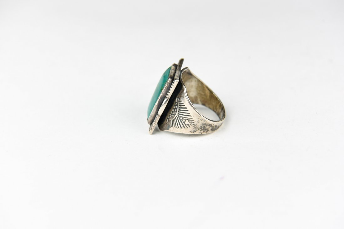 NATIVE AMERICN STERLING AND TURQUOISE RING - 2