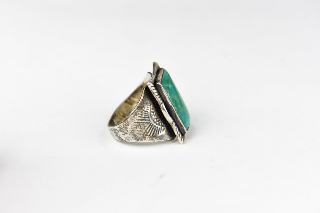 NATIVE AMERICN STERLING AND TURQUOISE RING - 4