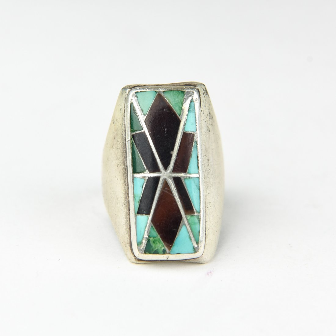 INLAID TURQUOISE & ONYX RING