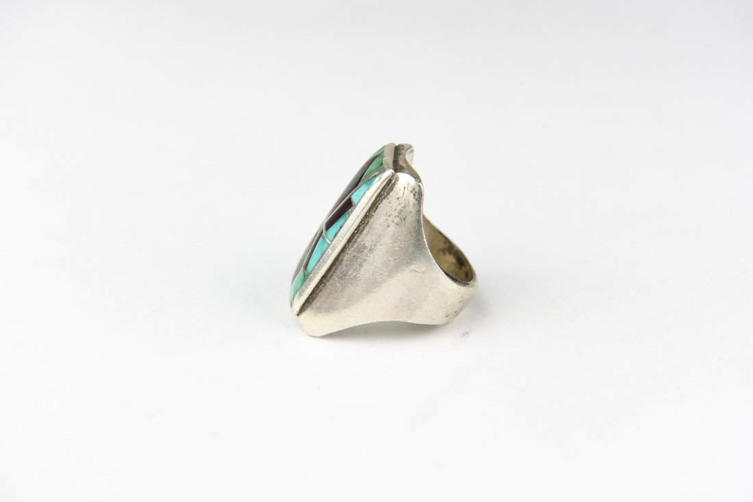 INLAID TURQUOISE & ONYX RING - 2