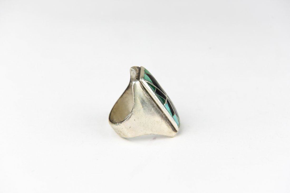 INLAID TURQUOISE & ONYX RING - 4