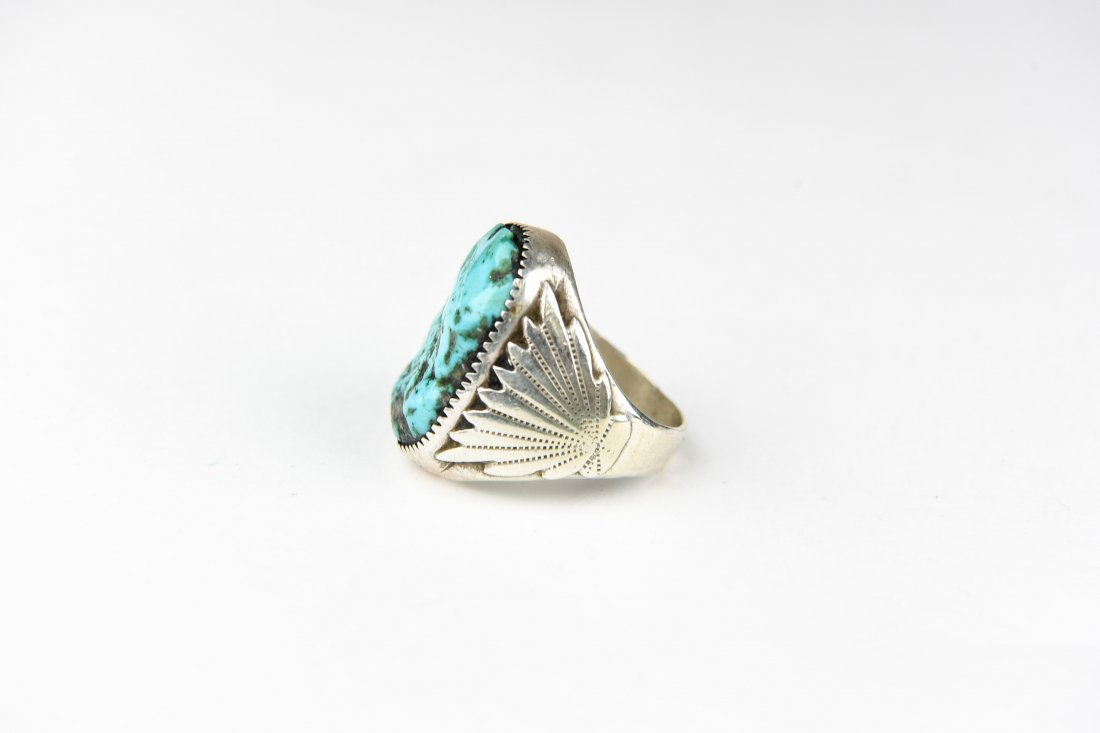 HEAVY NAVAJO STERLING AND TURQUOISE RING - 2