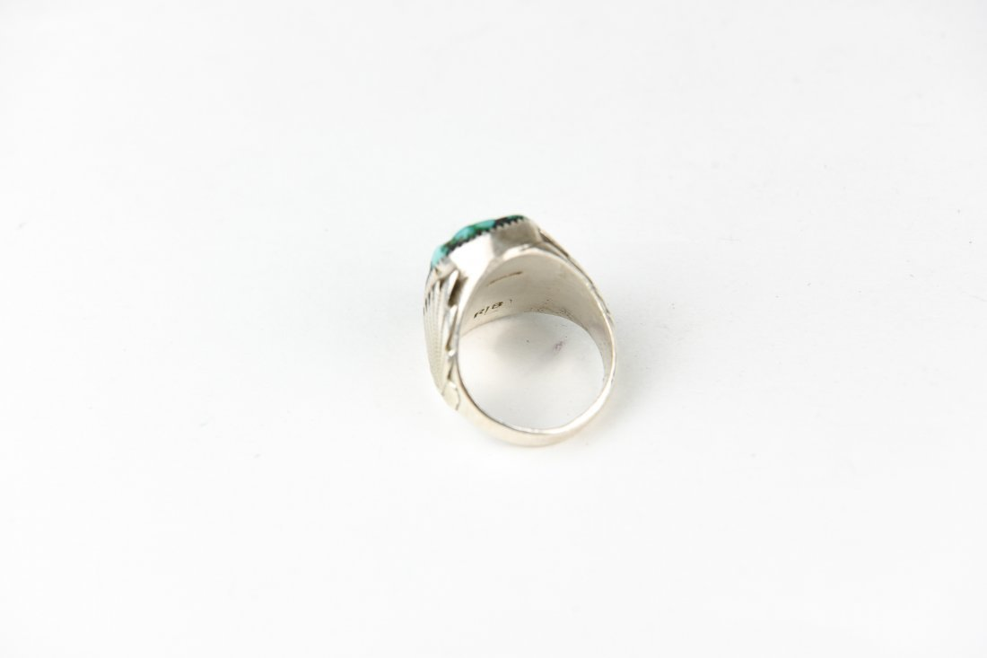 HEAVY NAVAJO STERLING AND TURQUOISE RING - 5