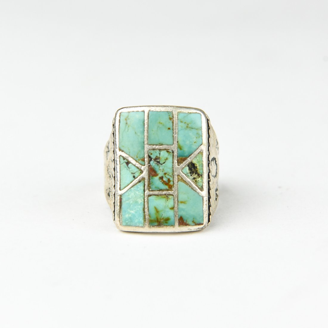 INLAID STERLING AND TURQUOISE RING