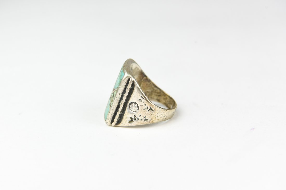 INLAID STERLING AND TURQUOISE RING - 2