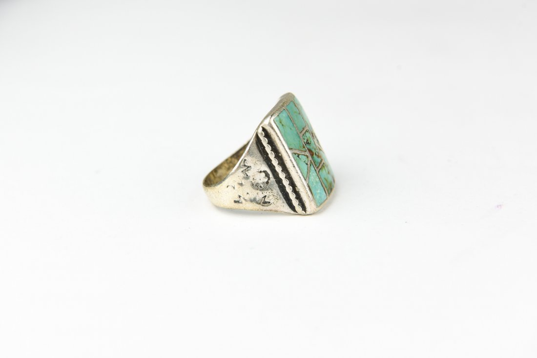 INLAID STERLING AND TURQUOISE RING - 4