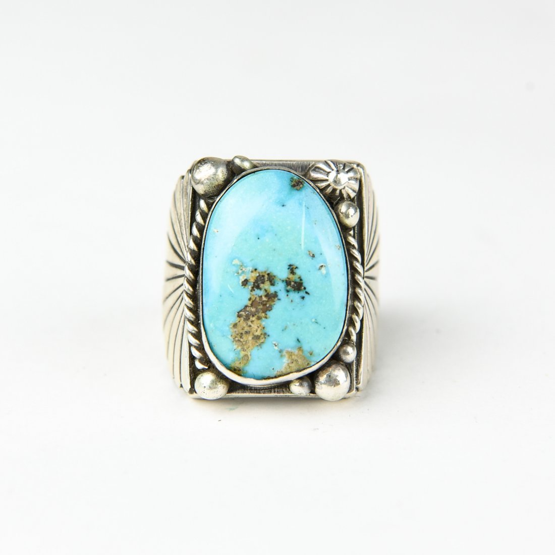 HEAVY STERLING AND TURQUOISE RING