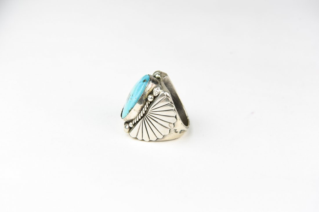 HEAVY STERLING AND TURQUOISE RING - 2