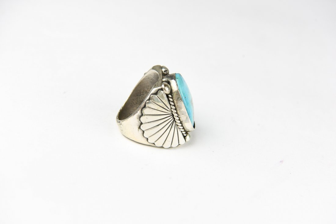 HEAVY STERLING AND TURQUOISE RING - 4