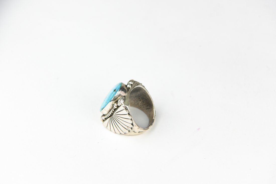 HEAVY STERLING AND TURQUOISE RING - 5