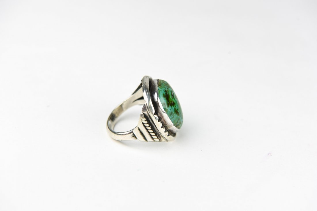 STERLING AND TURQUOISE RING - 4