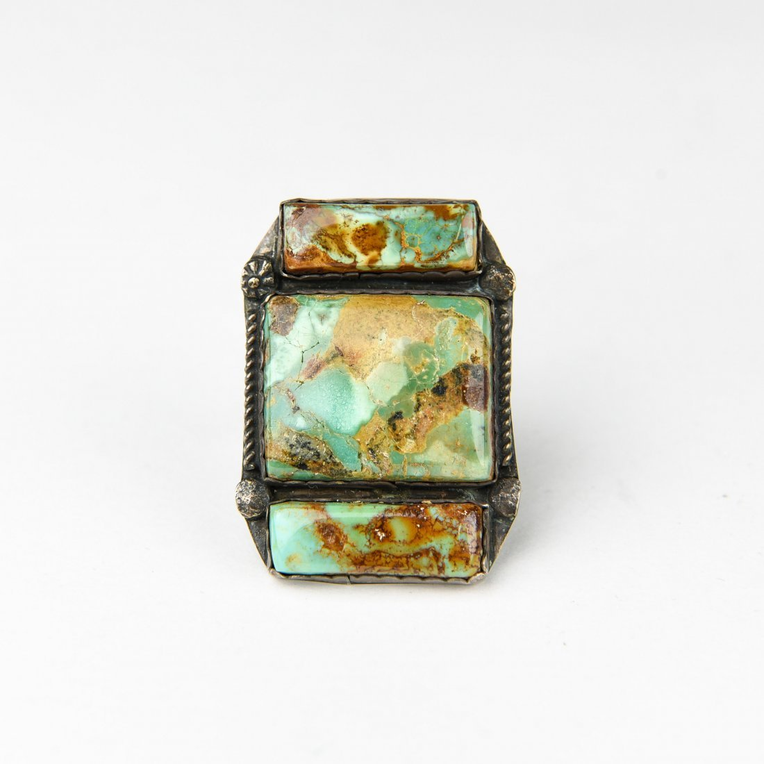 CHUNKY 3 STONE STERLING AND TURQUOISE RING