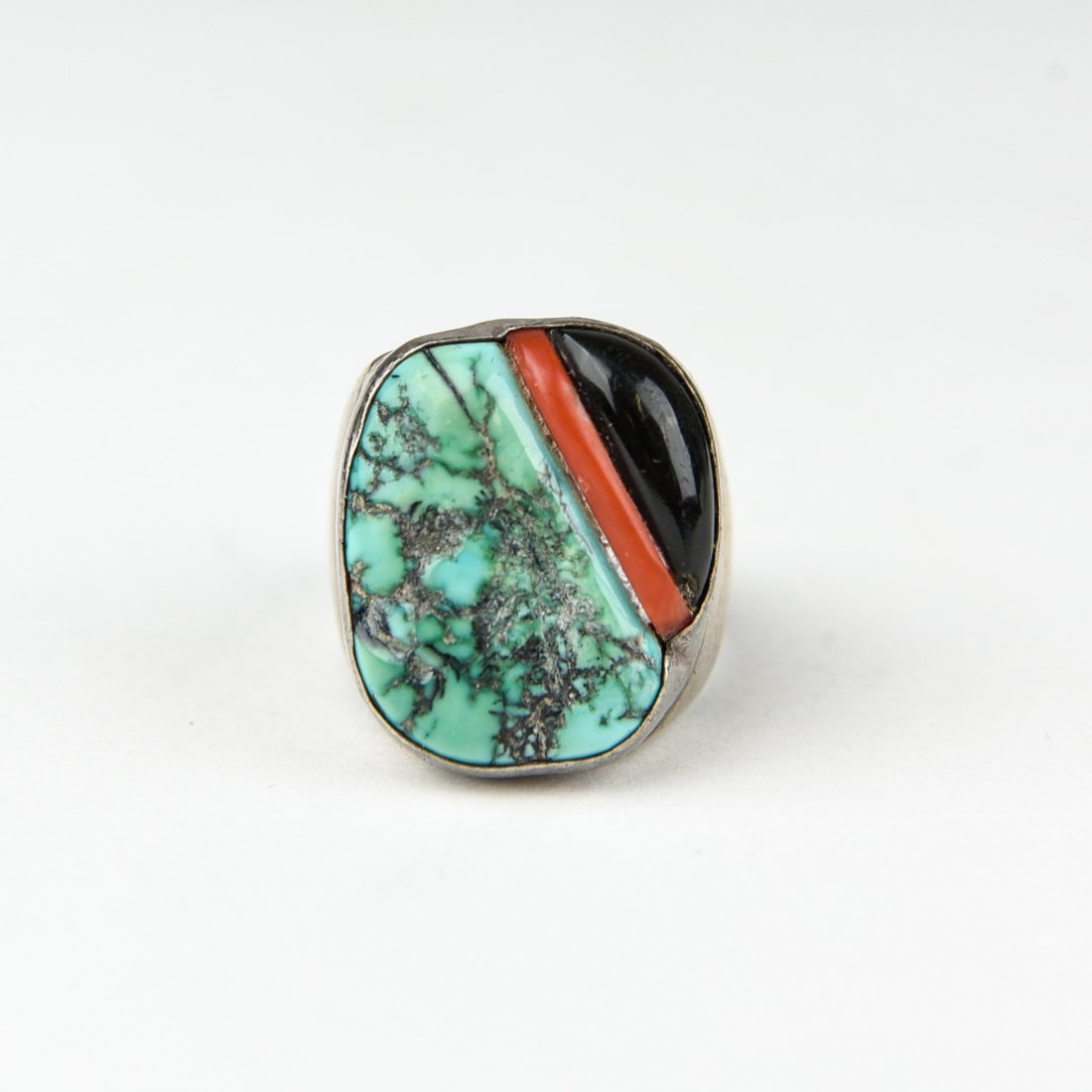 STERLING, TURQUOISE, ONYX & CORAL RING