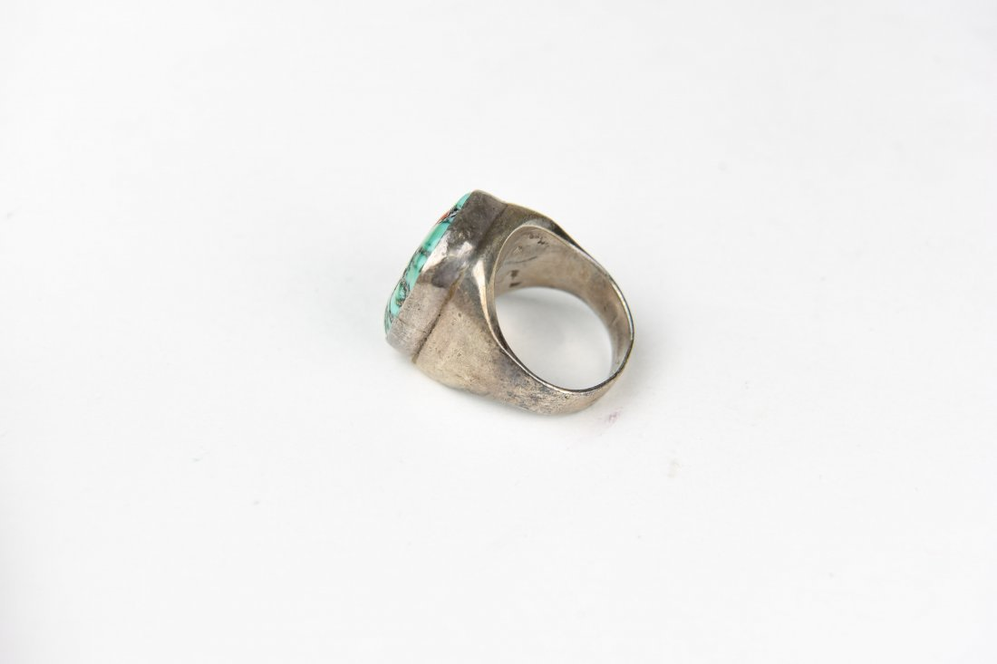 STERLING, TURQUOISE, ONYX & CORAL RING - 5