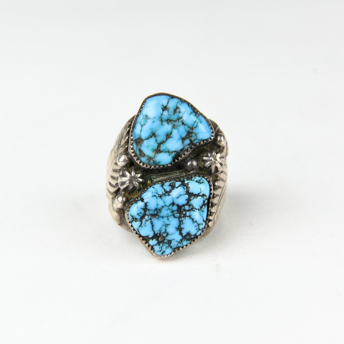 2 STONE STERLING AND TURQUOISE RING