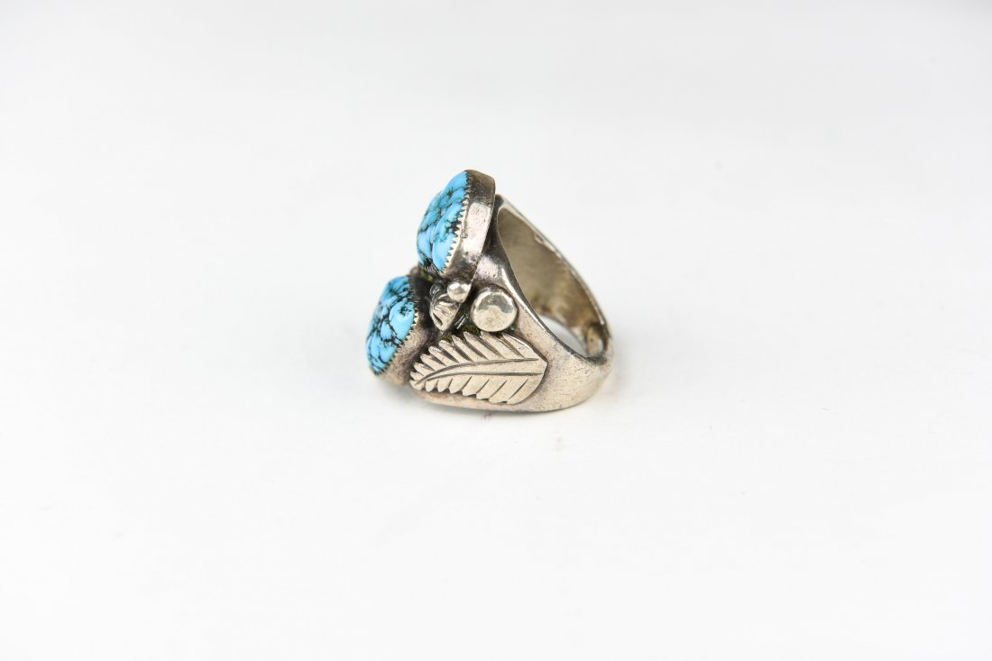 2 STONE STERLING AND TURQUOISE RING - 2