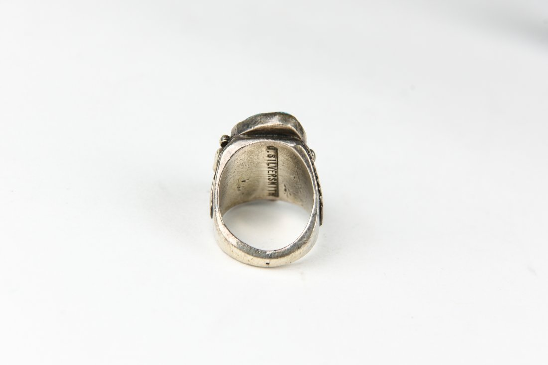 2 STONE STERLING AND TURQUOISE RING - 3