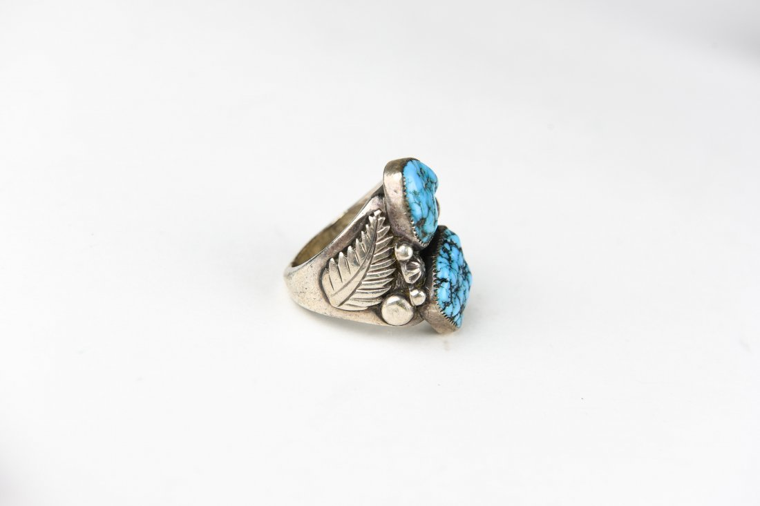 2 STONE STERLING AND TURQUOISE RING - 4