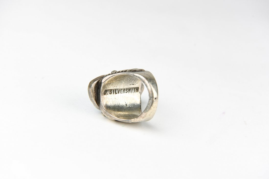 2 STONE STERLING AND TURQUOISE RING - 5