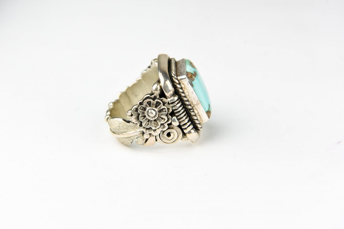 BEGAY STERLING AND TURQUOISE RING - 2