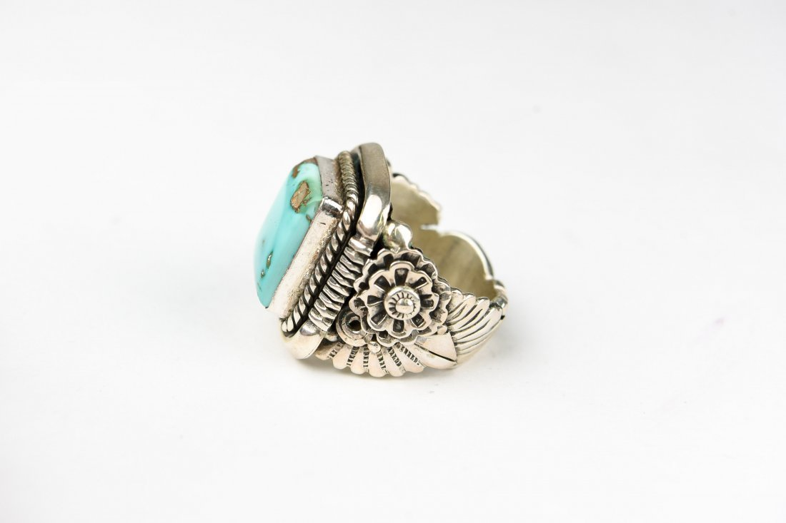 BEGAY STERLING AND TURQUOISE RING - 4