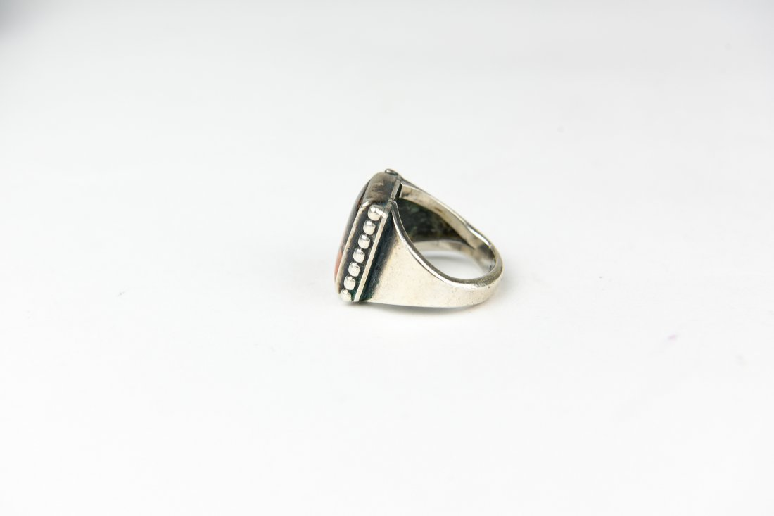 STERLING AND AGATE RING - 2
