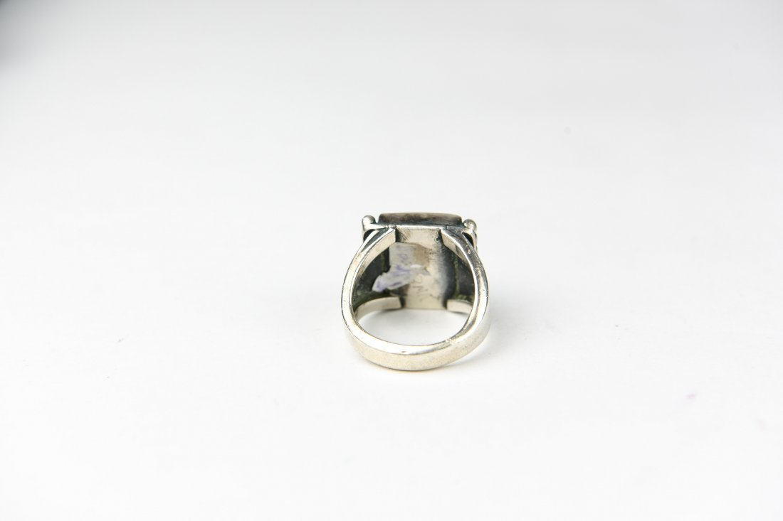 STERLING AND AGATE RING - 3