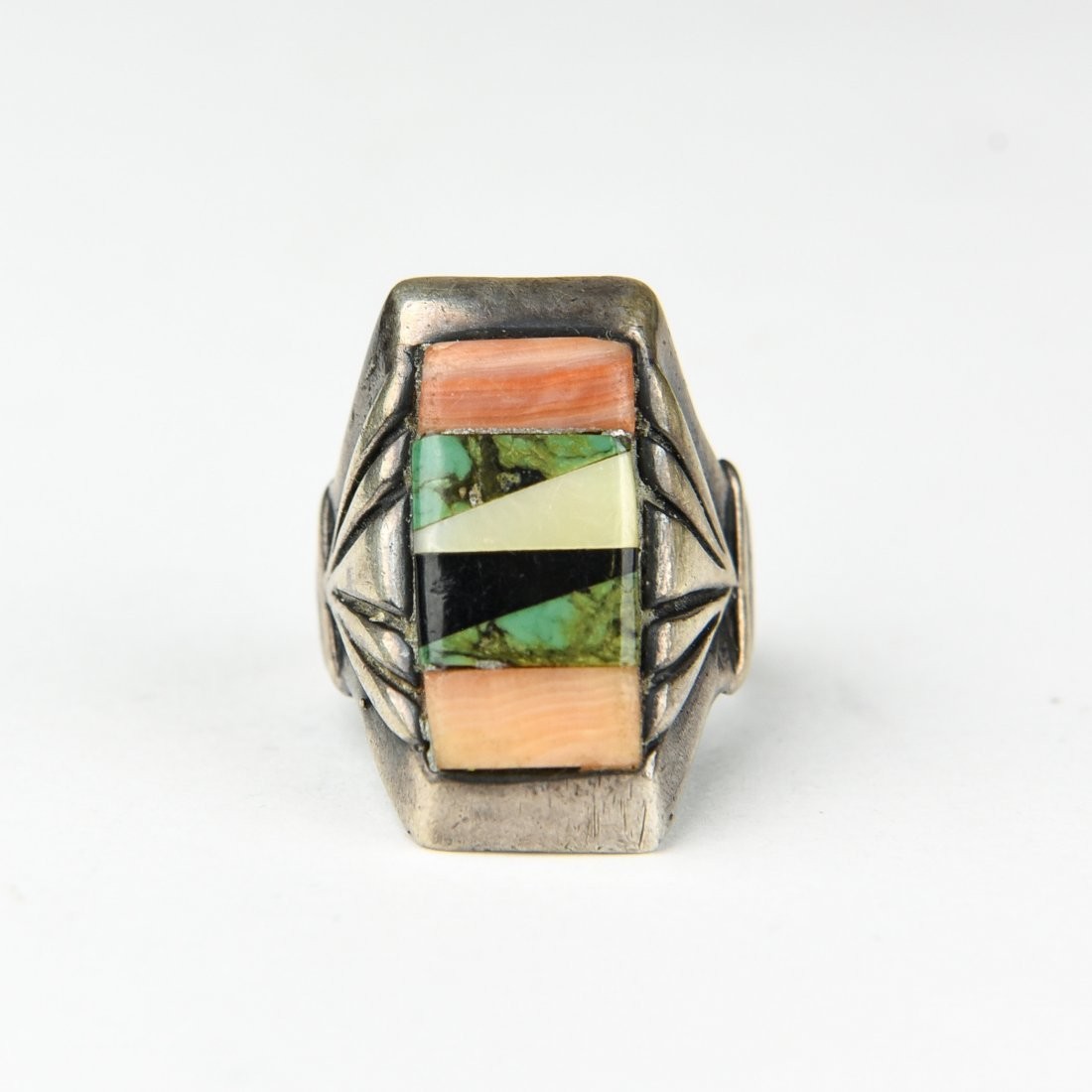 STERLING AND INLAID STONE RING