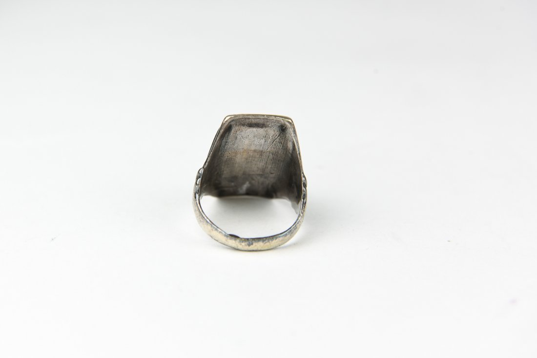 STERLING AND INLAID STONE RING - 3