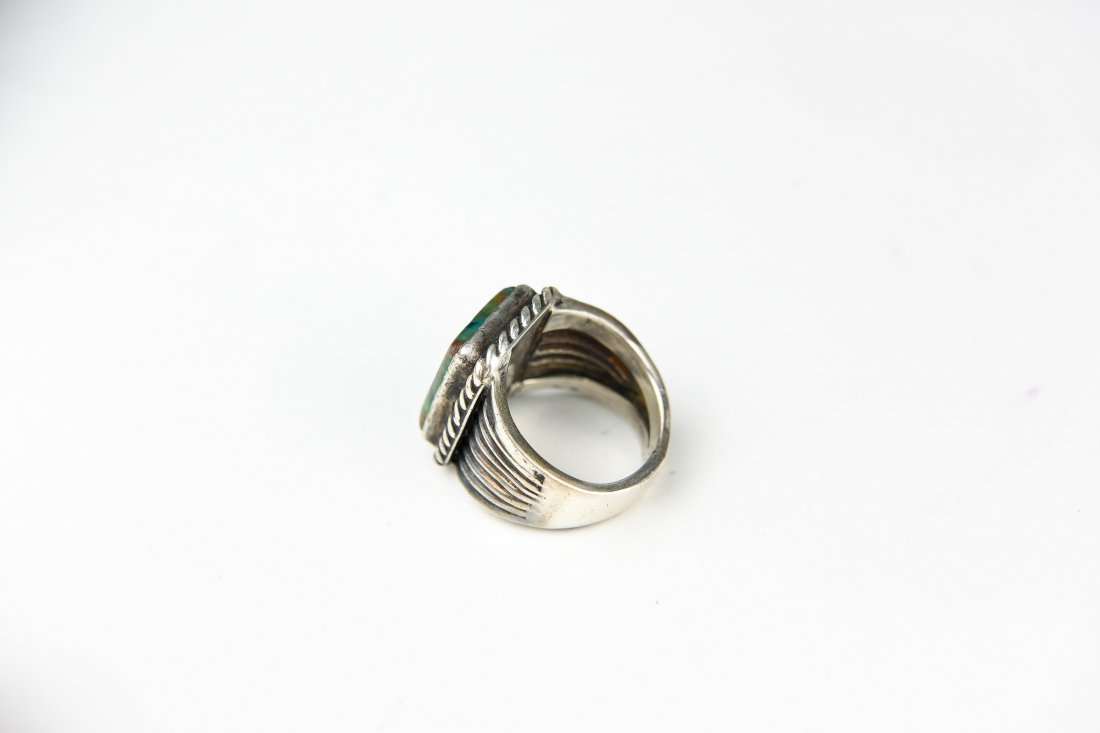 STERLING AND TURQUOISE RING - 5