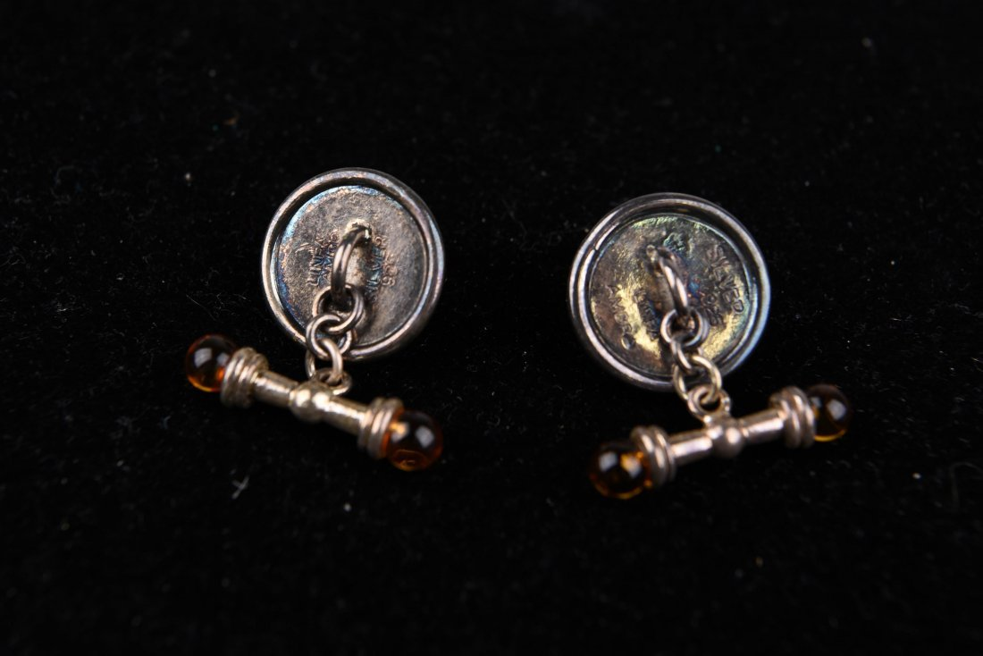 AMBER AND SILVER CUFFLINKS - 5