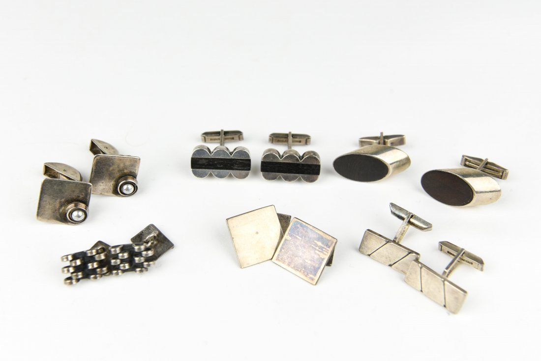(6) PAIR MODERNIST STERLING CUFFLINKS